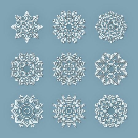 new year decoration: Set of flat line vector snowflakes with shadows on blue background. Christmas and New Year decoration element. Simple shape winter seasonal template for graphic design