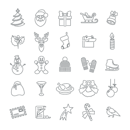 new icon: Christmas symbols flat line vector icons set. Winter holiday season conceptual design elements. Kids winter vacation fun and celebration illustrations for website, mobile or computer app, infographics Illustration