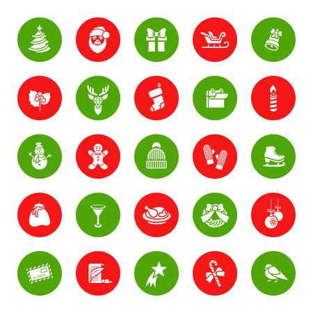 winter fun: Christmas symbols flat vector round icons set. Winter holiday season conceptual design elements. Kids winter vacation fun and celebration illustration for website, mobile or computer app, infographics