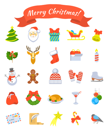 winter fun: Christmas symbols flat vector icons set. Winter holiday season conceptual design elements. Kids winter vacation fun and celebration illustrations for website, mobile or computer apps, infographics