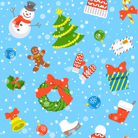 christmas wrapping: Christmas symbols holiday flat seamless background pattern with scattered icons of family celebration elements. Winter seasonal wrapping paper, wallpaper, fabric, textile, backdrop design Illustration