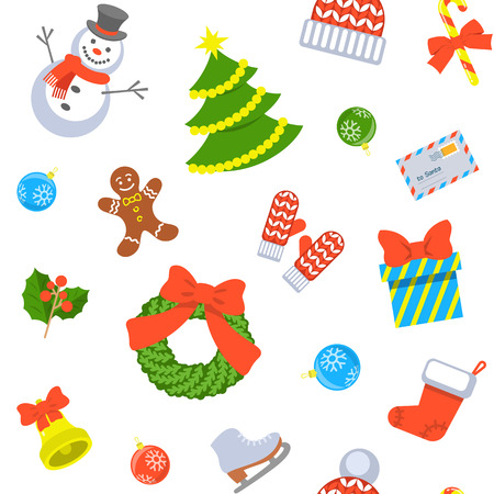family holiday: Christmas symbols holiday flat seamless background pattern with scattered icons of family celebration elements. Winter seasonal wrapping paper, wallpaper, fabric, textile, backdrop design Illustration