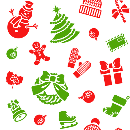 family celebration: Christmas symbols holiday flat seamless background pattern with scattered icons of family celebration elements. Winter seasonal wrapping paper, wallpaper, fabric, textile, backdrop design Illustration