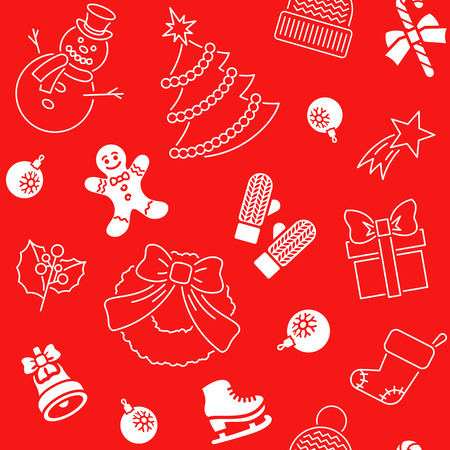 christmas backdrop: Christmas symbols holiday flat seamless background pattern with scattered icons of family celebration elements. Winter seasonal wrapping paper, wallpaper, fabric, textile, backdrop design Illustration