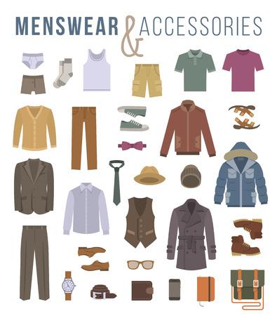 slip homme: Hommes v�tements et accessoires de mode ic�nes vectorielles plats. Objets de v�tements masculins outfit, sous-v�tements, des chaussures et des �l�ments essentiels chaque jour pour toute la saison. �l�ments de style moderne urbain casual pour homme