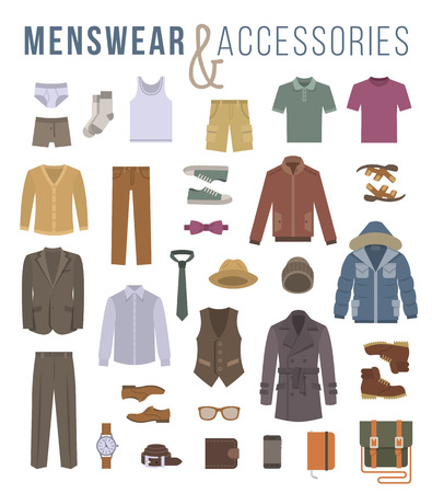 clothes: Men fashion clothing and accessories flat vector icons. Objects of male outfit clothes, underwear, shoes and every day essentials for any season. Modern urban casual style elements for man