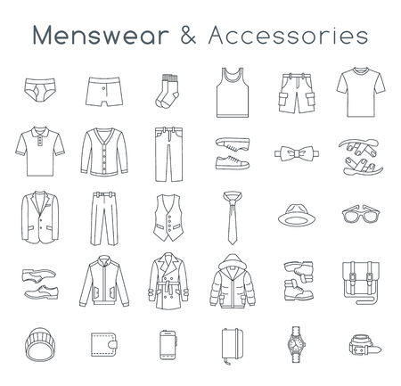 Men fashion clothing and accessories flat line vector icons. Linear objects of male outfit clothes, underwear, shoes and every day essentials for any season. Modern urban casual style elements for man Vettoriali
