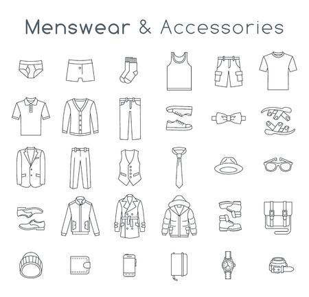 Los hombres la ropa de moda y accesorios iconos del vector de línea plana. Objetos lineales de ropa masculina traje, ropa interior, zapatos y cada día esenciales para cualquier época del año. Elementos casuales urbanas modernas de estilo para hombre