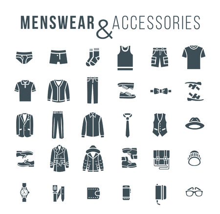 Men fashion clothing and accessories flat outline vector icons. Silhouettes objects of male outfit clothes, underwear, shoes and every day essentials for any season. Modern urban casual style elements  イラスト・ベクター素材