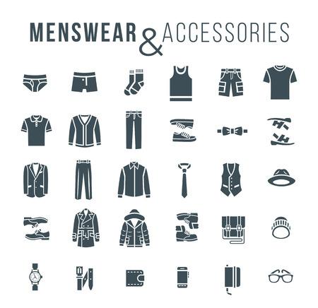 slip homme: Hommes vêtements et accessoires de mode icônes vectorielles de contour plat. Silhouettes objets de vêtements masculins pour l'équipement des sous-vêtements, des chaussures et les éléments essentiels chaque jour pour toute la saison. Des éléments modernes de style décontracté urbain