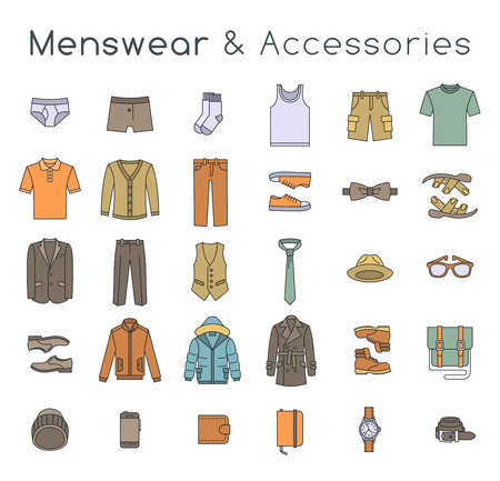 Men fashion clothing and accessories flat line vector icons. Linear objects of male outfit clothes, underwear, shoes and every day essentials for any season. Modern urban casual style elements for man Ilustração