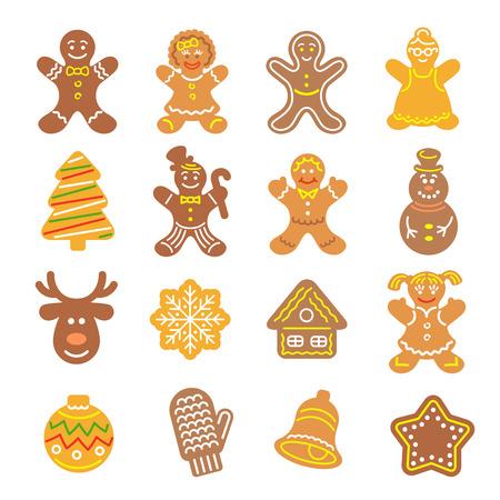 galletas de jengibre: Conjunto de iconos del vector planas de diferentes galletas de Navidad. los hombres de pan de jengibre, �rbol de navidad, reno, copo de nieve, manopla, Bell y otros s�mbolos de vacaciones, cocido a mano. hornear festivo para las vacaciones de invierno