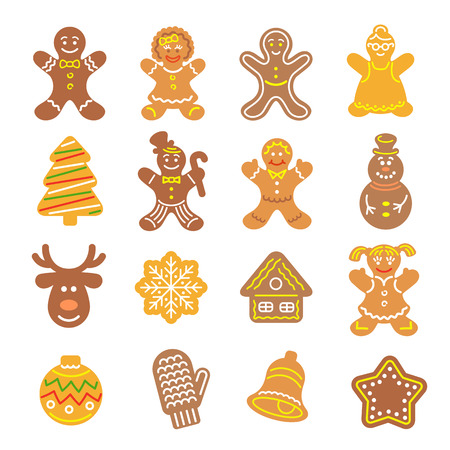 Set of flat vector icons of different Christmas cookies. Gingerbread men, Christmas tree, reindeer, snowflake, mitten, bell and other holiday symbols, baked by hand. Festive baking for winter holidays