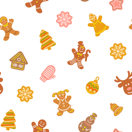 gingerbread: Flat vector Christmas background seamless pattern with different cookies. Gingerbread men, deer, snowflake, bell and other winter holidays symbols. Traditional festive wallpaper, wrapping paper design