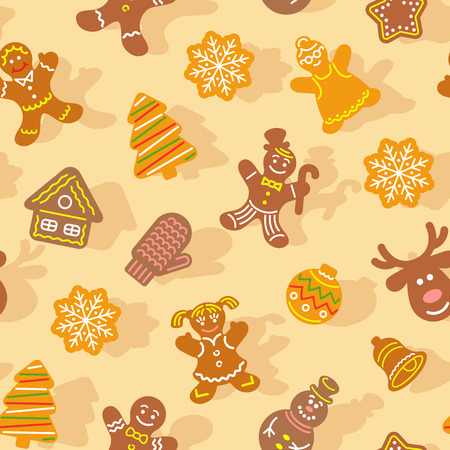ginger bread man: Flat vector Christmas background seamless pattern with different cookies. Gingerbread men, deer, snowflake, bell and other winter holidays symbols. Traditional festive wallpaper, wrapping paper design