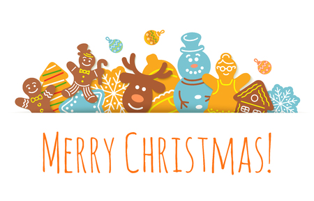 christmas parties: Christmas background horizontal header vector banner with gingerbread cookies. Festive decorative frame headline for website, invitation, greeting card design. Winter holiday celebration illustration Illustration