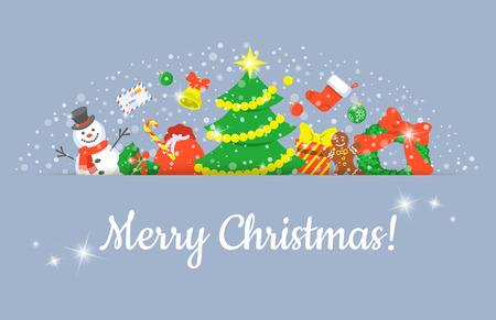 joyeux noel: Noël fond en-tête horizontal vecteur bannière avec des symboles de fête de vacances. Festive titre de cadre décoratif pour le site Web, invitation, conception de cartes de voeux. Hiver bannière frontière saisonnière Illustration