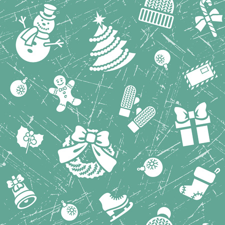 family celebration: Christmas symbols holiday seamless grunge textured background pattern with scattered icons of family celebration elements. Winter seasonal wrapping paper, wallpaper, fabric, textile, backdrop design