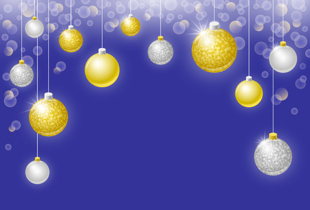 copy spase: Christmas vector horizontal background with golden and silver Christmas balls, bokeh effect baubles and copy spase for text. Happy New Year holiday greeting card or invitation design Illustration