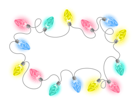 christmas garland: Vector illustration of Christmas lights garland with colorful crystal light bulbs shining on a white background. New Year festive frame for holiday greeting card and invitation design