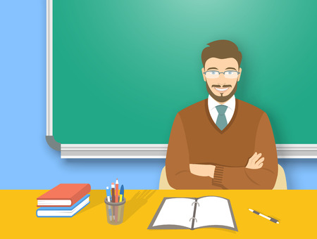 studies: School teacher at desk flat education vector illustration. Young attractive smiling man teacher sitting at table with school supplies in front of blackboard. Studying, learning, training concept Illustration
