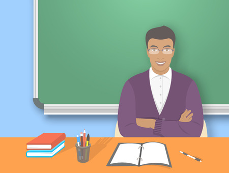 american table: School teacher at desk flat education vector illustration. Young smiling african american man teacher sitting at table with school supplies in front of blackboard. Studying, learning concept
