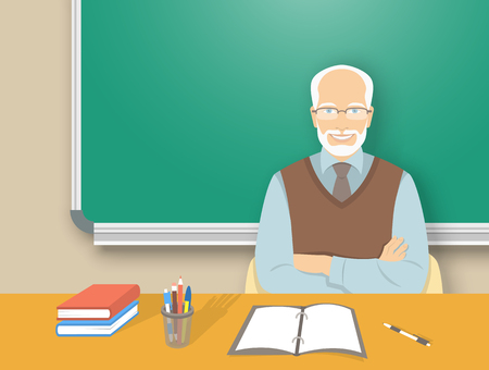 school classroom: School teacher at desk flat education vector illustration. Aged wise smiling man teacher sitting at table with school supplies in front of blackboard. Studying, learning, training concept