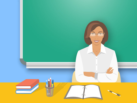 blackboard cartoon: School teacher at desk flat education vector illustration. Young smiling african american woman teacher sitting at table with school supplies in front of blackboard. Studying, learning concept