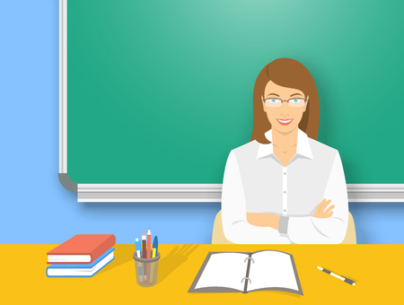 blackboard cartoon: School teacher at desk flat education vector illustration. Young attractive smiling woman teacher sitting at table with school supplies in front of blackboard. Studying, learning, training concept Illustration