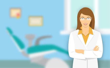 若い女性の歯科医院で歯科医。ベクトル フラット イラスト背景をぼかし。歯科用の椅子が付いているオフィスで笑顔の優しい医師口科医