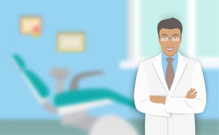 若い男の歯科医院で歯科医。ベクトル フラット イラスト背景をぼかし。アフリカ系アメリカ人に優しい医師口科医歯科用椅子、オフィスでの笑みを  イラスト・ベクター素材