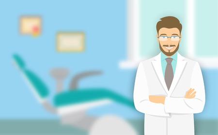 Dentista de jovem no consultório odontológico. Ilustração em vetor plana com um fundo desfocado. Sorrindo amigável estomatologista médico no escritório com uma cadeira odontológica Ilustración de vector
