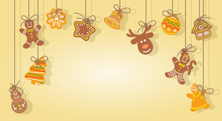 ginger bread man: Christmas gingerbread cookies hanging on the ropes vector horizontal festive background. Flat illustration of cute baked figures of man, tree, snowflake, snowman, deer with space for greeting text