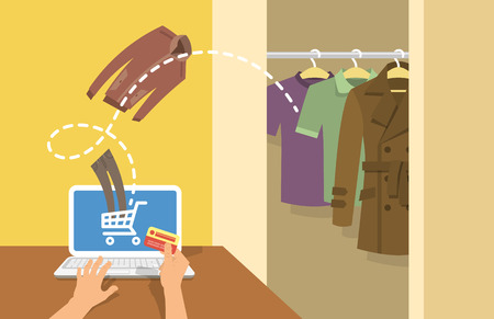 directly: Online shopping men clothes flat vector conceptual illustration. A man with laptop orders clothing in the online store with delivery directly to his home. Male wardrobe with different garments