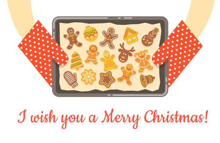 Christmas gingerbread cookies, just baked and got out of the oven. Vector background. Housewife holding in hands a tray with baking paper and different figures of homemade cakes. Flat illustration
