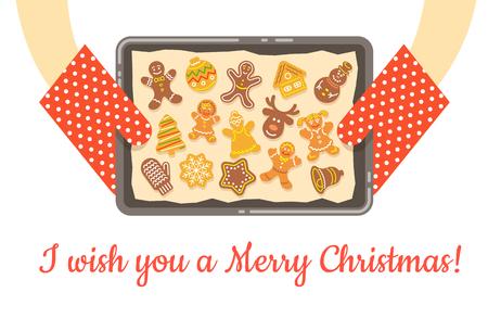 casalinga: biscotti di panpepato di Natale, appena sfornati e ottenuto fuori dal forno. Vector background. Casalinga tenendo in mano un vassoio con carta da forno e diverse figure di torte fatte in casa. illustrazione piatta Vettoriali