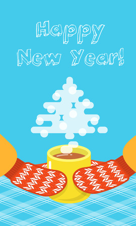 tea tree: Happy New Year greeting card with a tea cup and knitted mittens flat vector illustration. Vertical banner. Hot steam in the form of a Christmas tree rises over a cup of hot drink with quote text