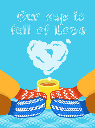 family love: Valentines Day card. Vector illustration of male and female hands in knitted mittens that hold a cup with a hot drink and a cloud of steam in the form of heart. Love conceptual vertical banner