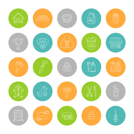 Flat thin line dog care vector web icons in colorful circles. Simple linear conceptual symbols of nutrition, grooming and accessories of dogs. Pets infographics design elements
