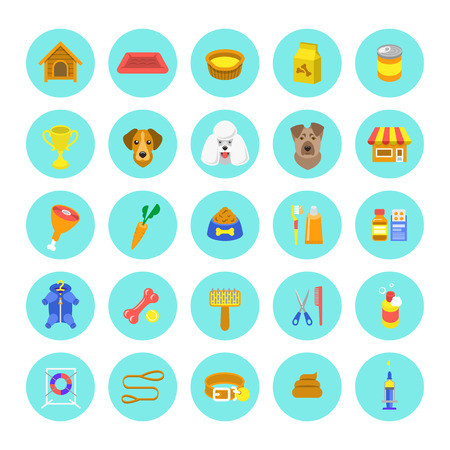 shop: Flat dog care round vector web icons in colorful circles, isolated on white. Simple conceptual bright colors symbols of nutrition, grooming and accessories of dogs. Pets infographics design elements Illustration