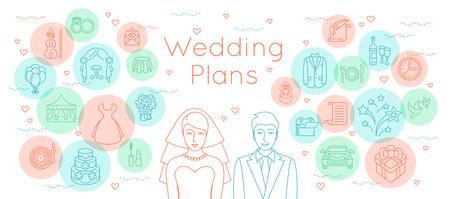Trouwplannen dunne lijn plat vector achtergrond. Moderne horizontale lineaire illustratie van bruid en bruidegom met overzicht iconen van huwelijksfeest voorbereiding. Infographic design element