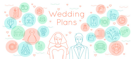 preparation: Wedding plans thin line flat vector background. Modern horizontal linear illustration of bride and groom with outline icons of wedding party preparation. Infographic design element