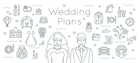 Wedding plans thin line flat vector background. Modern horizontal linear illustration of bride and groom with outline icons of wedding party preparation. Infographic design element