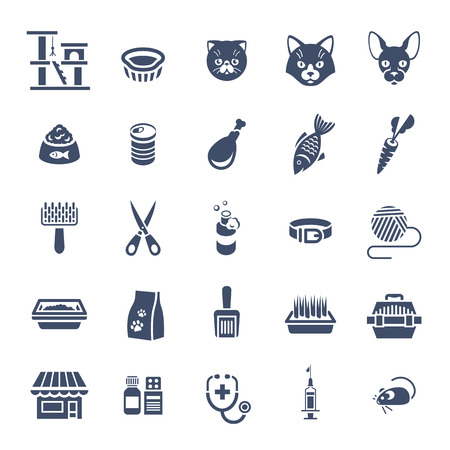 Cat care pet shop flat silhouettes vector icons. Simple monochrome conceptual symbols of pets food, toys, accessories for domestic animals. Infographics design elements