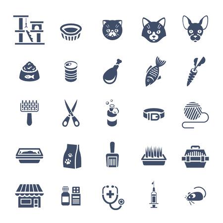 fish shop: Cat care pet shop flat silhouettes vector icons. Simple monochrome conceptual symbols of pets food, toys, accessories for domestic animals. Infographics design elements