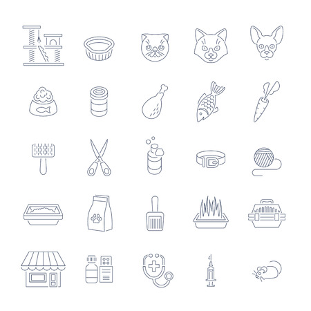 domestic cat: Cat care pet shop flat thin line vector icons. Simple linear conceptual symbols of pets food, toys, accessories for domestic animals. Infographics design elements