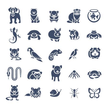 Conjunto de animales de animales domésticos de vectores iconos de la silueta plana. pictogramas en blanco y negro de varios animales domésticos. Mamíferos, roedores, anfibios, insectos, aves, reptiles, que las personas se ocupan de en casa Ilustración de vector