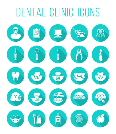 dental health: Set of modern flat vector conceptual icons of dental clinic services, stomatology, dentistry, orthodontics, oral health care and hygiene, tooth restoration, dental instruments and tools