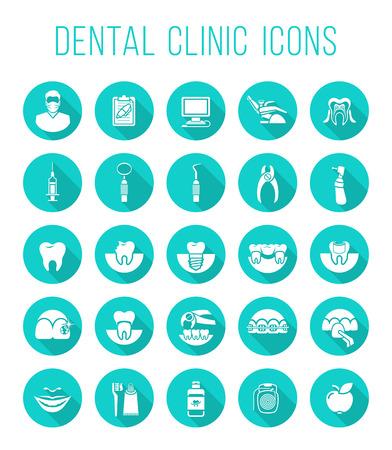 Zestaw nowoczesnych płaskim ikon wektorowych koncepcyjnych usług kliniki dentystycznej, stomatologii, stomatologii, ortodoncji, ustnej opieki zdrowotnej i higieny, odbudowy zębów, narzędzi stomatologicznych i narzędzi