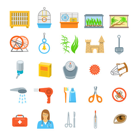 health icons: Pets grooming and health care accessories flat colorful vector icons. Cages for rabbit, bird, hamster, aquarium, terrarium and essential stuff. Symbols of domestic animals exterior care and veterinary